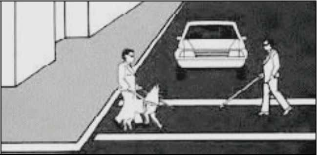 always yield the ri ght of way to persons who are blind. When a pedestrian is