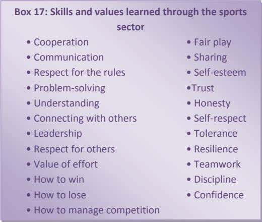 Box 17: Skills and values learned through the sports sector • Cooperation • Fair play