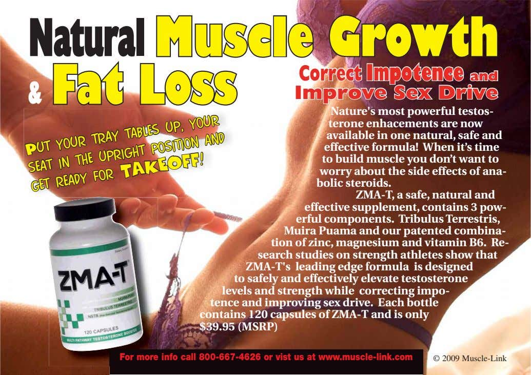 Natural Muscle Growth & Fat Loss Correct Impotence and Improve Sex Drive Nature's most powerful