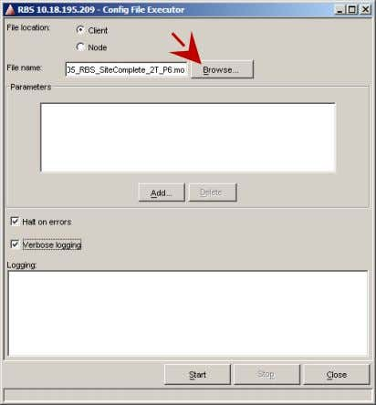 Action 1 Click Configuration and select Run Command File. 2 Click the Browse button. 37 of