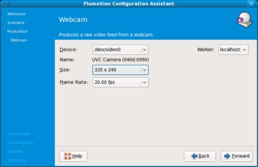 Figure 3.6. The Configuration Assistant's Webcam Page In this screenshot you can also see the worker