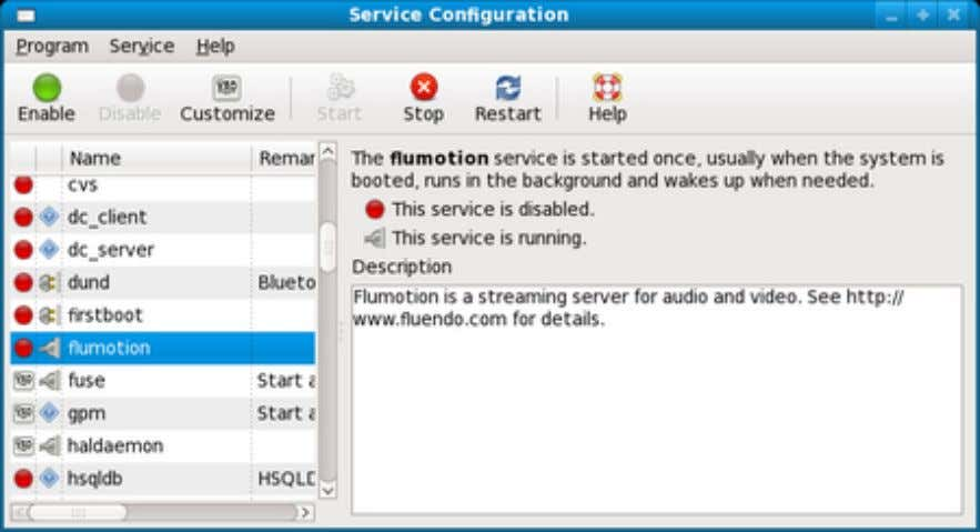 5.1. Service Configuration in Fedora Linux or Red hat Linux Specifying Service Startup Using the Command
