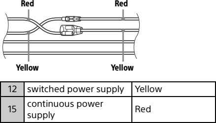 Red Red Yellow Yellow 12 switched power supply Yellow continuous power 15 Red supply