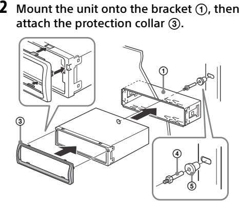 2 Mount the unit onto the bracket , then attach the protection collar . 
