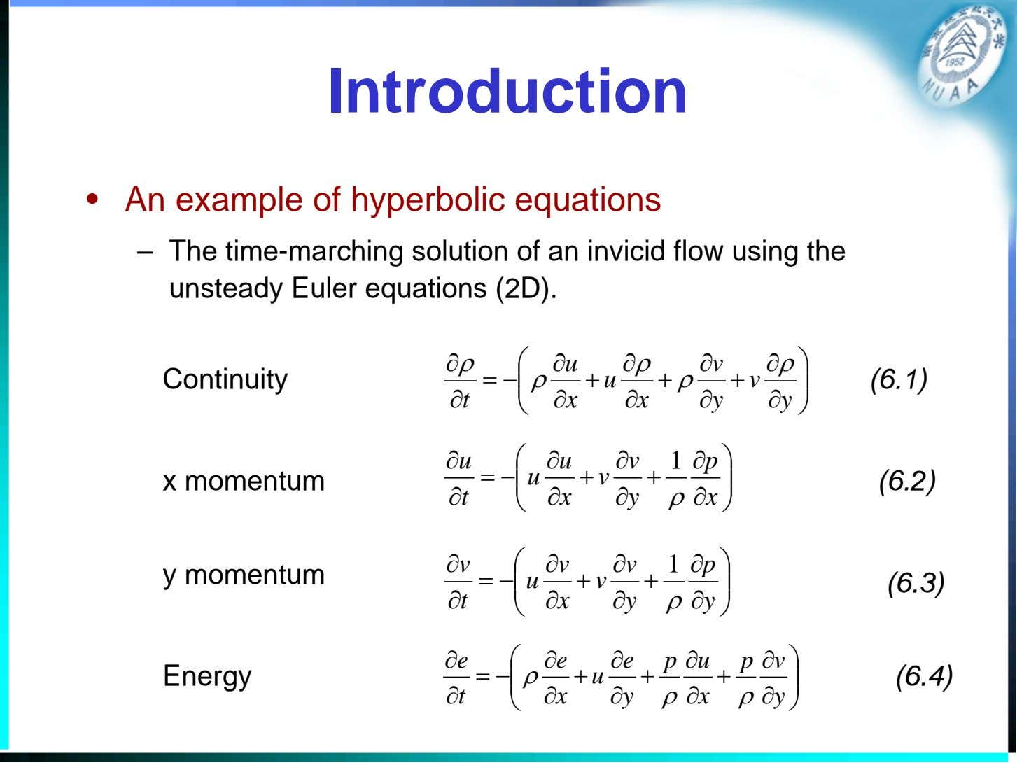 Introduction • An example of hyperbolic equations – The time-marching solution of an invicid flow