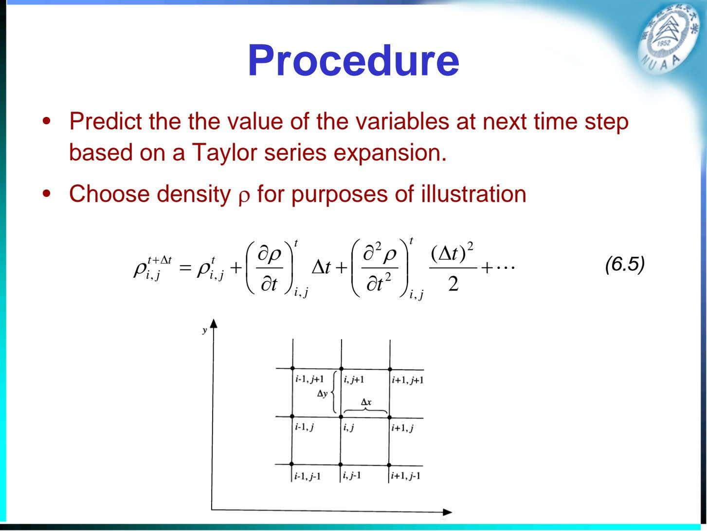 Procedure • Predict the the value of the variables at next time step based on