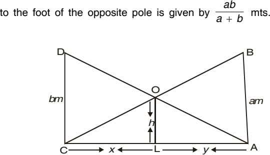ab to the foot of the opposite pole is given by mts. a  b