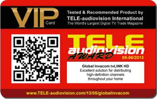 05-06/2013 Global Invacom tvLInK HD Excellent solution for distributing high-definition channels throughout your home