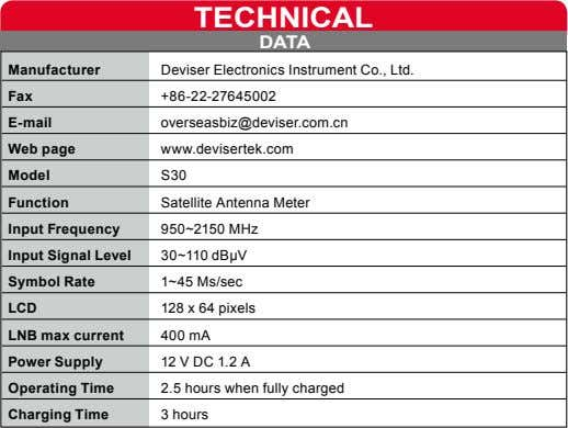 TEcHnIcAL DATA Manufacturer Deviser Electronics Instrument Co., Ltd. Fax +86-22-27645002 E-mail