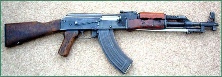 An Albanian version of the Type 56 with folding bayonet possi- bly manufactured at Gramsh.
