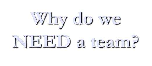 Why do we NEED a team?