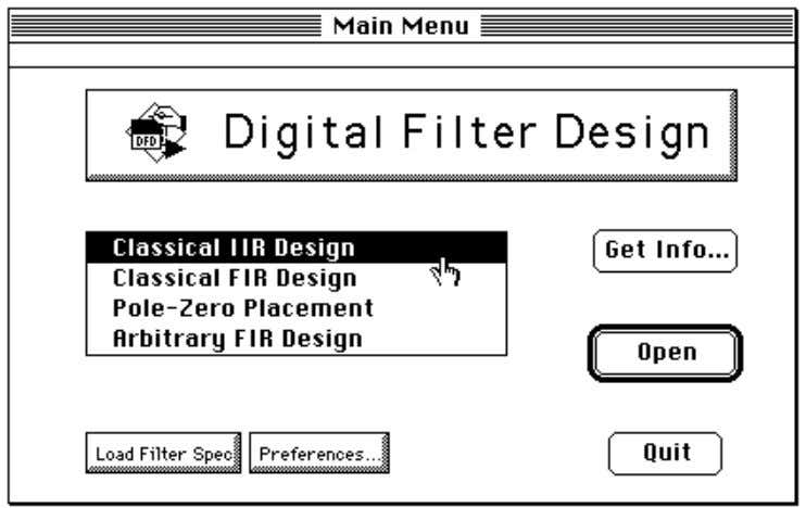 Figure 2-2 shows the Filter Design Main Menu panel. Figure 2-2. Filter Design Main Menu Panel