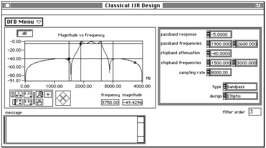 Chapter 2 Digital Filter Design Application Figure 2-4. Classical IIR Filter Design Panel Use this panel