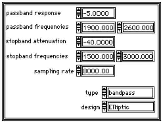 portion at the upper right-hand side of the design panel. The passband response is the minimum