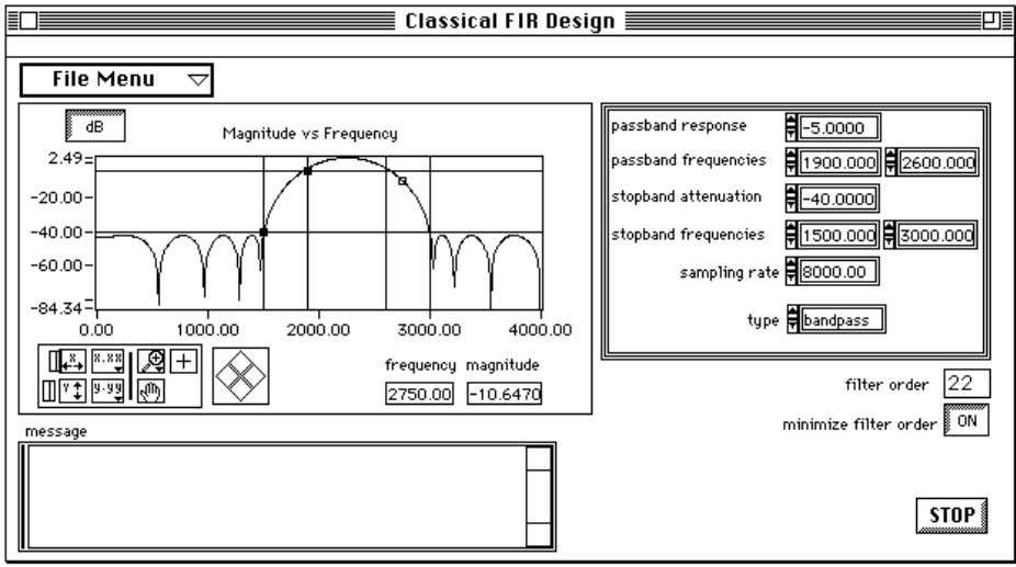 Chapter 2 Digital Filter Design Application Figure 2-6. Classical FIR Design Panel Use the Classical FIR