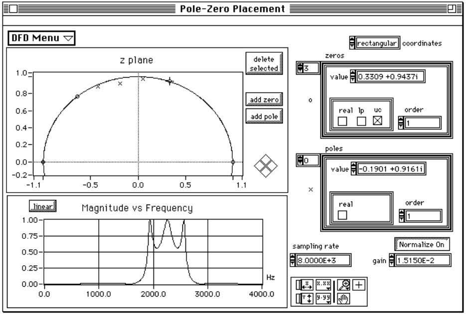 Chapter 2 Digital Filter Design Application Figure 2-8. Pole-Zero Placement Filter Design Panel Use the Pole-Zero