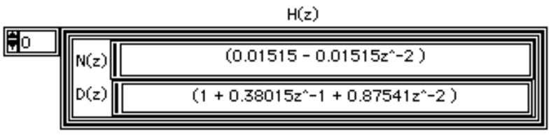 H(z) is the z-transform of the designed digital filter. For an IIR filter, H(z) can be