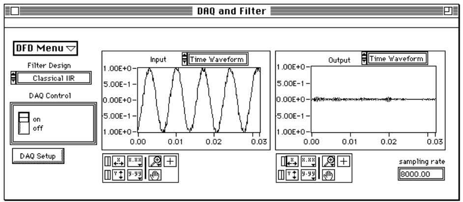 plots the input and output waveforms and spectrums. Figure 2-13. The DAQ and Filter Panel If