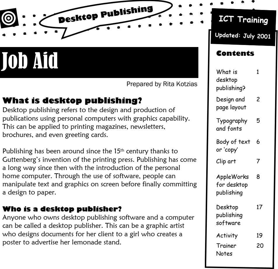ICT Training Updated: July 2001 Desktop Publishing Contents Job Aid What is 1 desktop Prepared