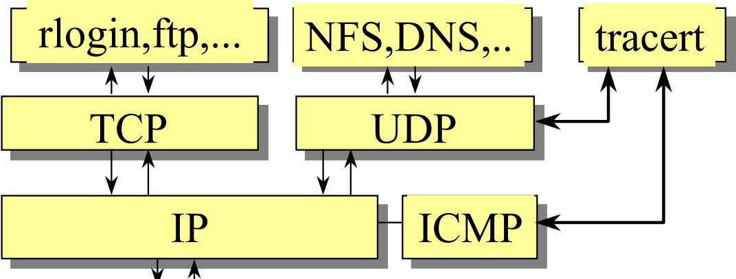 rlogin,ftp, NFS,DNS, tracert TCP UDP IP ICMP