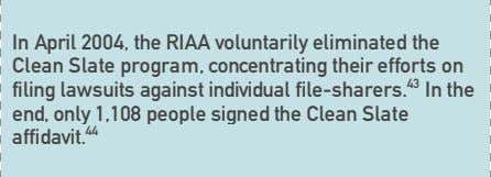 In April 2004, the RIAA voluntarily eliminated the Clean Slate program, concentrating their efforts on