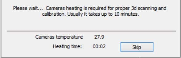 can occur during the scanning and calibration procedures. The warm-up time depends on the temperature in