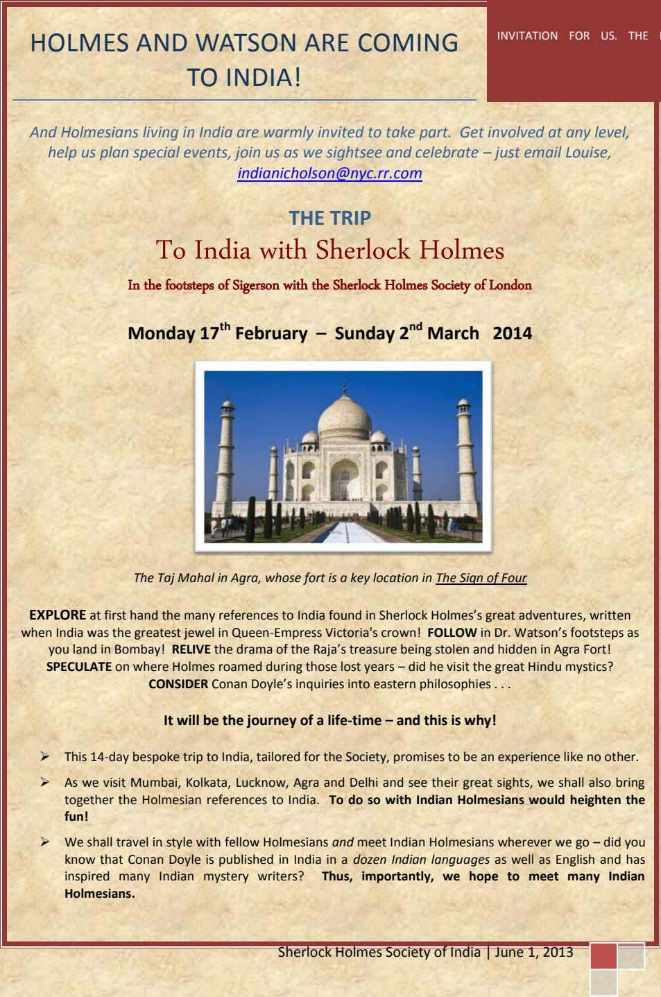INVITATION FOR US. THE HOLMES AND WATSON ARE COMING TO INDIA! And Holmesians living in