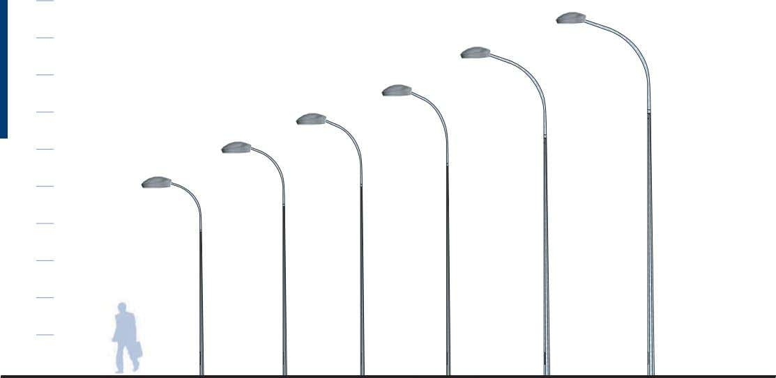 2m. Octagonal conical steel pole. Single bracket of 3m. Twin bracket of 2m. Luminaire IPERBOLE Luminaire