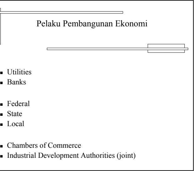 Pelaku Pembangunan Ekonomi Utilities Banks Federal State Local Chambers of Commerce Industrial Development