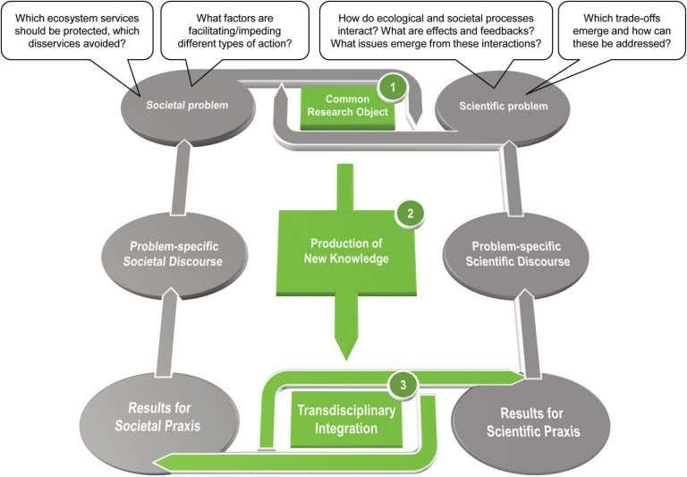 transdisciplinary research dealing with biodiversity issues. Figure 1: The role of transdiscipli- narity in producing
