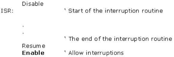 "Basic for PIC Microcontrollers 19 2.15 ON INTERRUPT On interrupt LABEL With instruction ""On interrupt"" is"