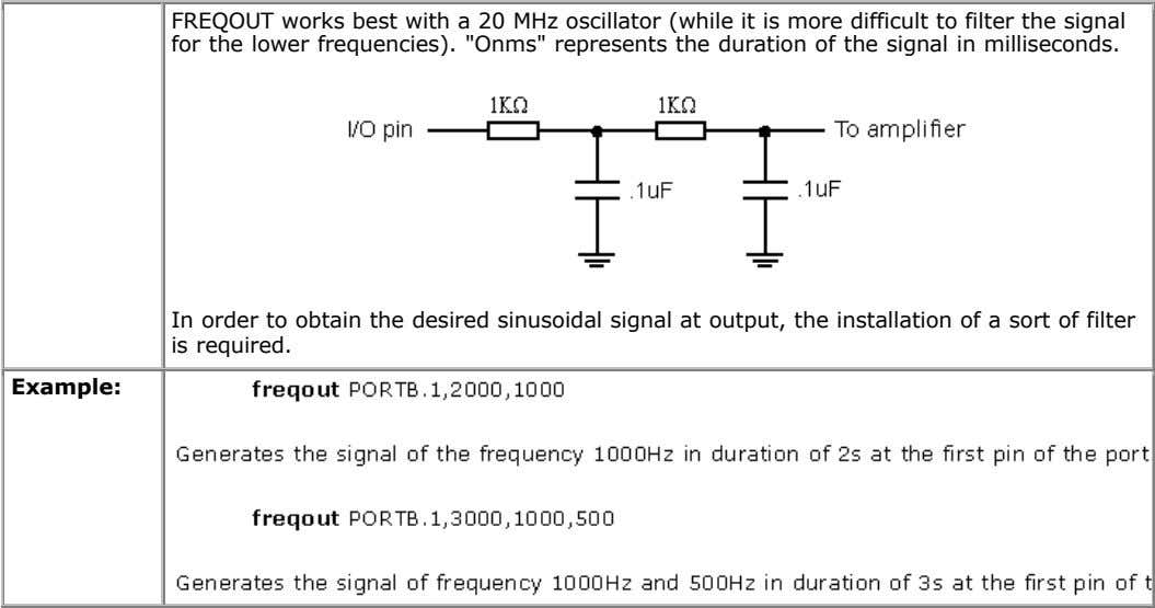 FREQOUT works best with a 20 MHz oscillator (while it is more difficult to filter