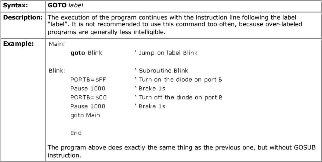 Syntax: GOTO label Description: The execution of the program continues with the instruction line following