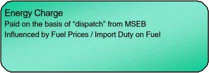 "Energy Charge Energy Charge Paid on the basis of ""dispatch"" from MSEB Paid on the"