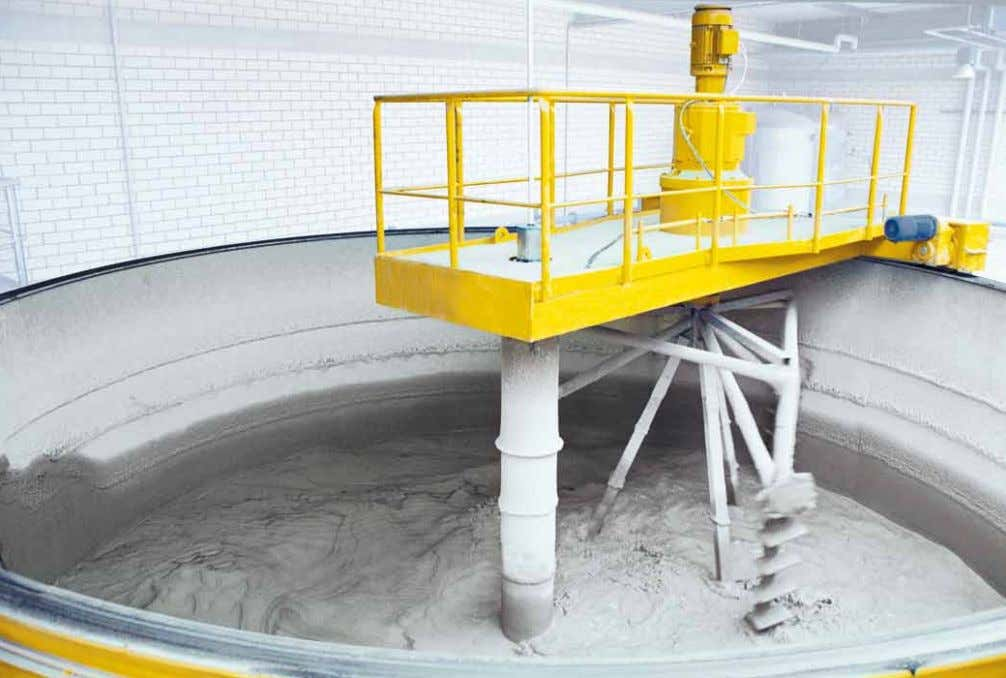 hardening floors • Process / installation controls Intermediate storage of the sand slurry after the milling