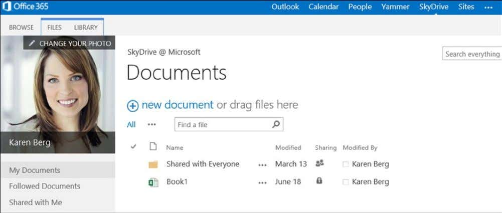 (Figure 2-9 ) to edit documents in the Office 365 cloud. Figure 2-9. Karen's personal document
