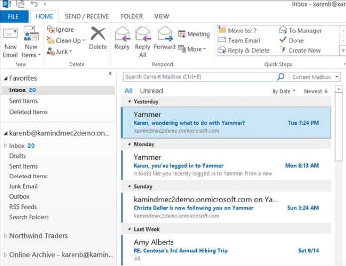 email that was sent when Outlook was updated in the cloud. Figure 2-27. Karen's desktop Outlook