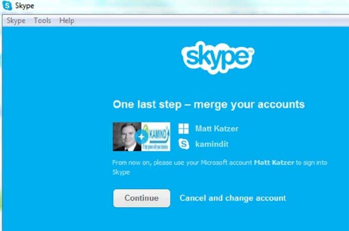 2-69. Selecting Skype account to link to Microsoft account Figure 2-70. Merging the accounts At this