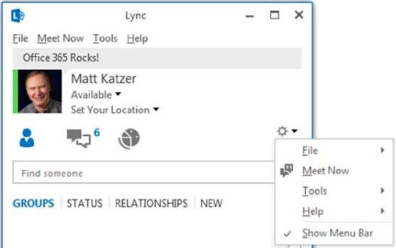 Start Lync 2. Select Gear (right-hand side: Figure 2-73 ) Figure 2-73. Lync configuration options 3.
