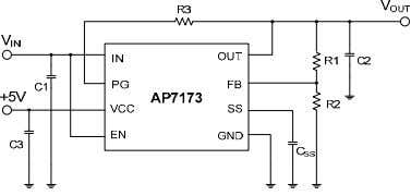 illustrates the typical application circuit for the AP7173. Figure 27. Typical Application Circuit for AP7173 ADJUSTABLE