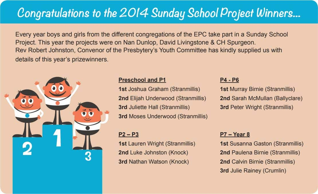 Every year boys and girls from the different congregations of the EPC take part in