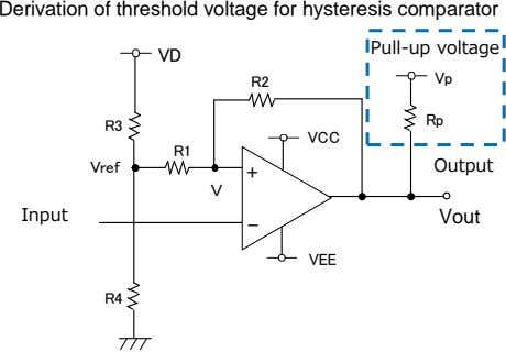 Derivation of threshold voltage for hysteresis comparator VD R2 Pull‐up voltage プルアップ電圧 R3 Vp Vref