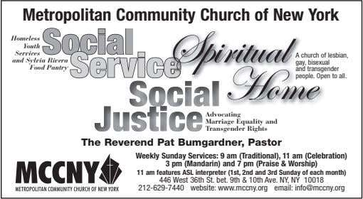 Metropolitan Community Church of New York Homeless Spiritual Youth Services and Sylvia Rivera Food Pantry