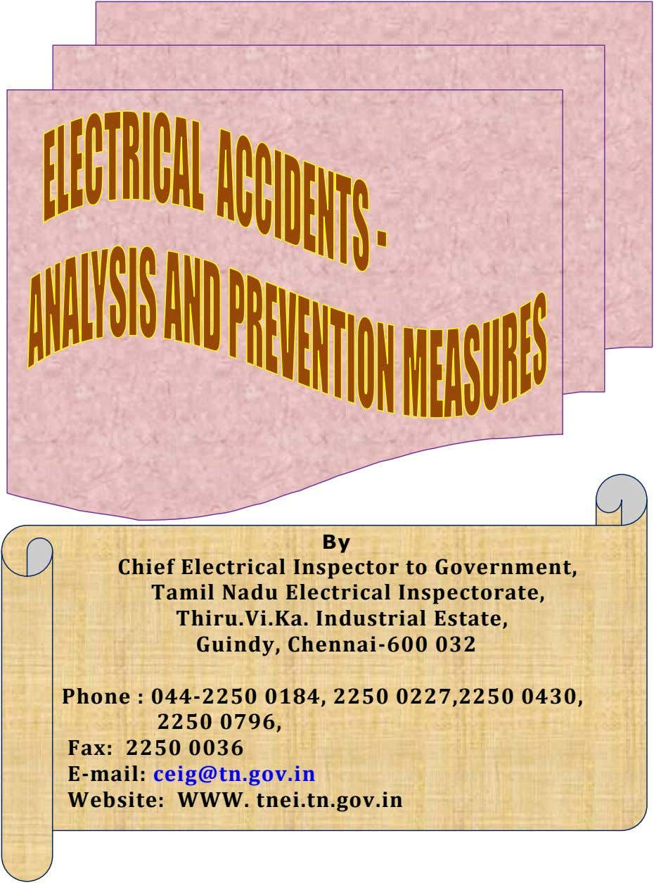 CONTENTS Sl.No.Description Page no.1 2 3 4 5 7 By Chief Electrical Inspector to Government,