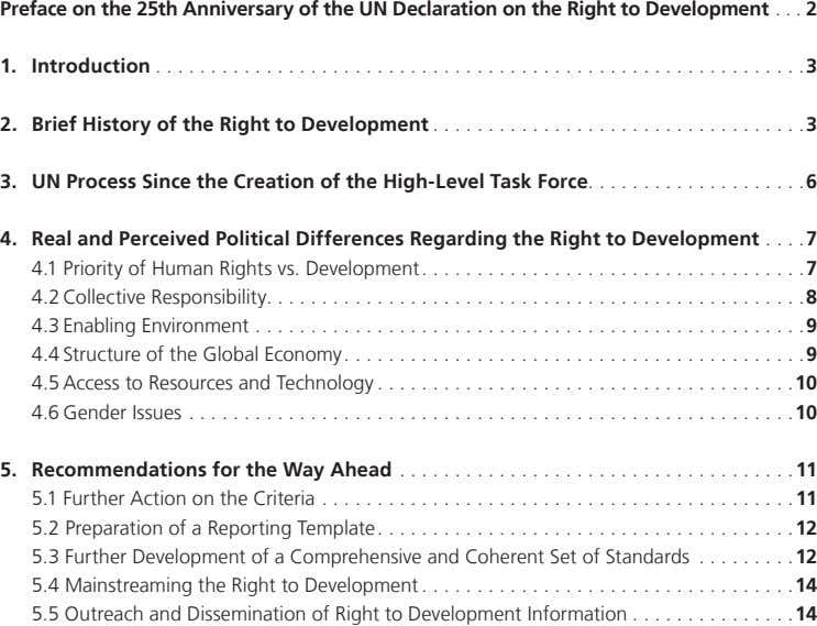 Preface on the 25th Anniversary of the UN Declaration on the Right to Development 2 1.