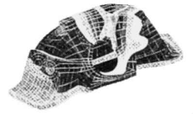 Lola rollbox. Stress contours are superimposed on the model. Figure 2.10 - Lola T92/10 Rollbox Model