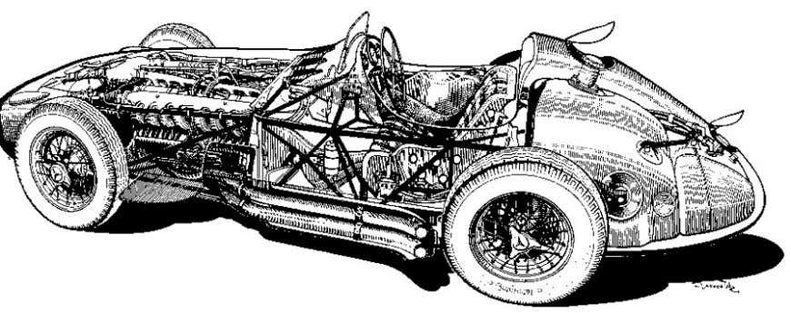 Figure 2.15 - Mercédès-Benz W196 The spaceframe chassis and multitubular chassis were used exclusively in