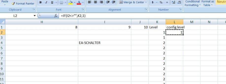 So for this we create the following formula in row L Copy this formula down column