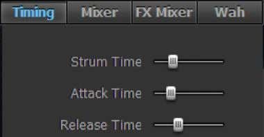 Panel, Mixer Panel, and Audio FX Panel: T IMING P ANEL Strum Time (Schlaggeschwindigkeit) (20 –