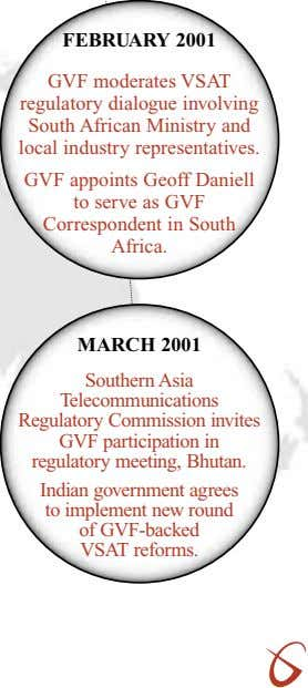 FEBRUARY 2001 GVF moderates VSAT regulatory dialogue involving South African Ministry and local industry